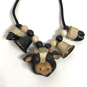 Funky Vintage Cow Animal Necklace Jingle Bell Farm